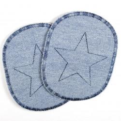 Bügelflicken mit Stern hellblau gestickte Aufbügler in blautönen als Knieflicken verwendbar