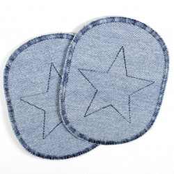 Flickli - the patch! set retro jeans light blue with blue multicolor trim and star