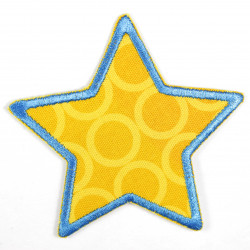 Iron-on patches star with circles yellow patches ideal as knee patches