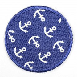 iron on patch round dark blue applique with anchor white