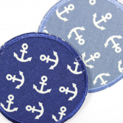 iron on patches around with white anchor motive 2 different appliques light blue and dark blue
