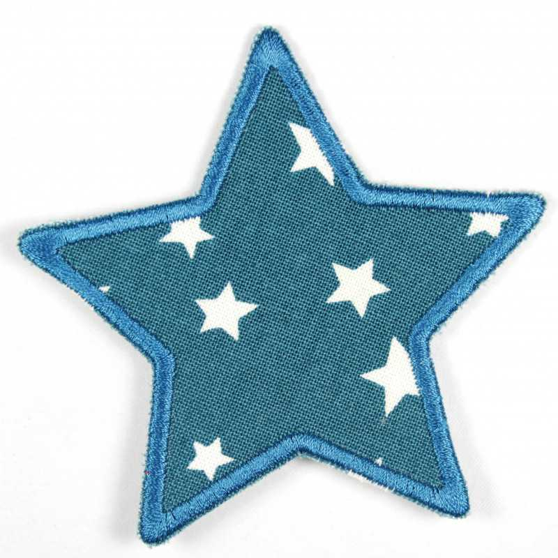 Iron-on patch star petrol with white stars as a patch ideal as a knee patch