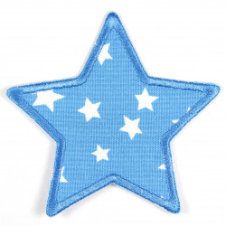 Iron-on patch star light blue with white stars as a patch, ideal as a knee patch