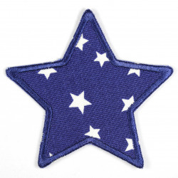 Flickli - the patch! star with starlets white on dark blue