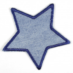 iron-on patches star denim jeans light blue embroidered applique