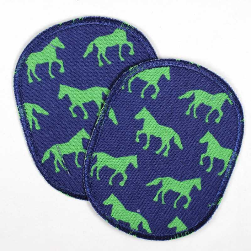 2 round iron-on patches with green horses in a set, ideal as an elbow patch or knee patch