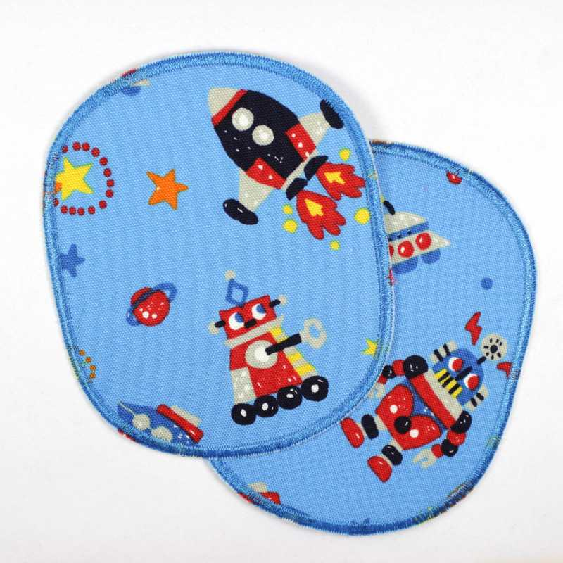 2 large iron-on patches robots rockets light blue strong appliques for pants