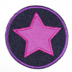Iron-on patches round jeans with appliqued star purple iron-on suitable as knee patches