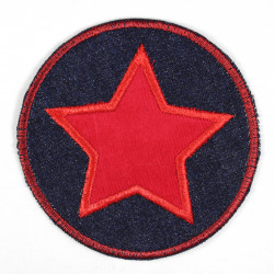 Iron-on patches round jeans with appliqued red star Patch suitable as knee patches