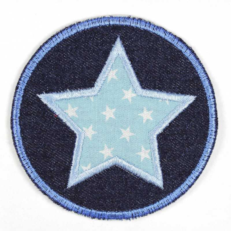 Iron-on patches round jeans with appliqued star light blue with white stars iron-on patch suitable as knee patches
