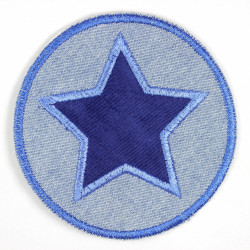 Iron-on patches round jeans light blue with appliqué star blue iron-on suitable as knee patches