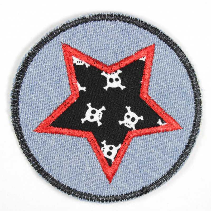 Iron-on patches round jeans light blue with an applied star black with white skulls red border suitable as knee patches
