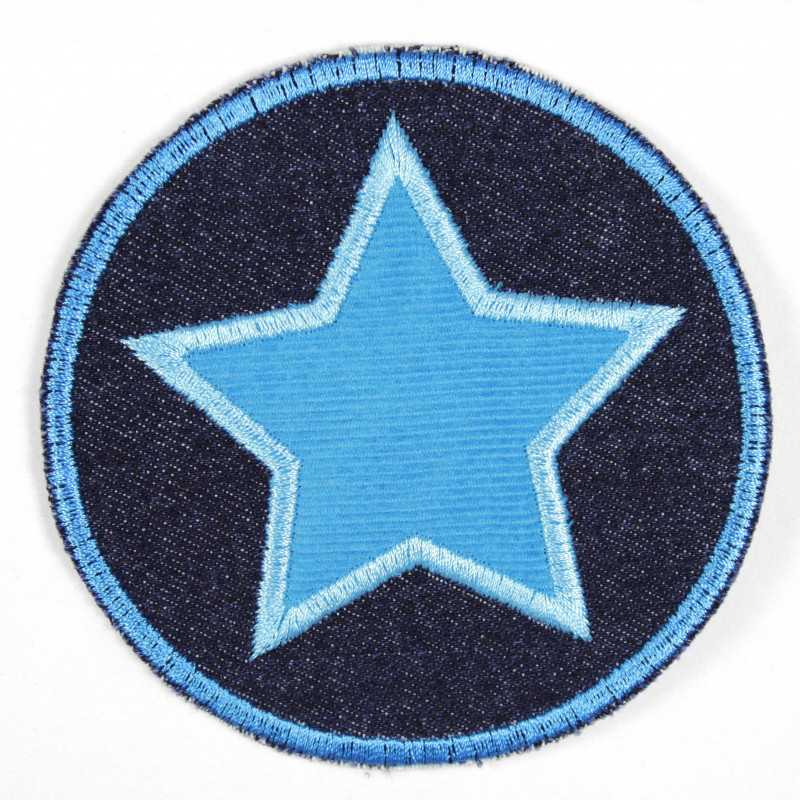 Iron-on patches round jeans with appliqued star light blue iron-on patch suitable as knee patches