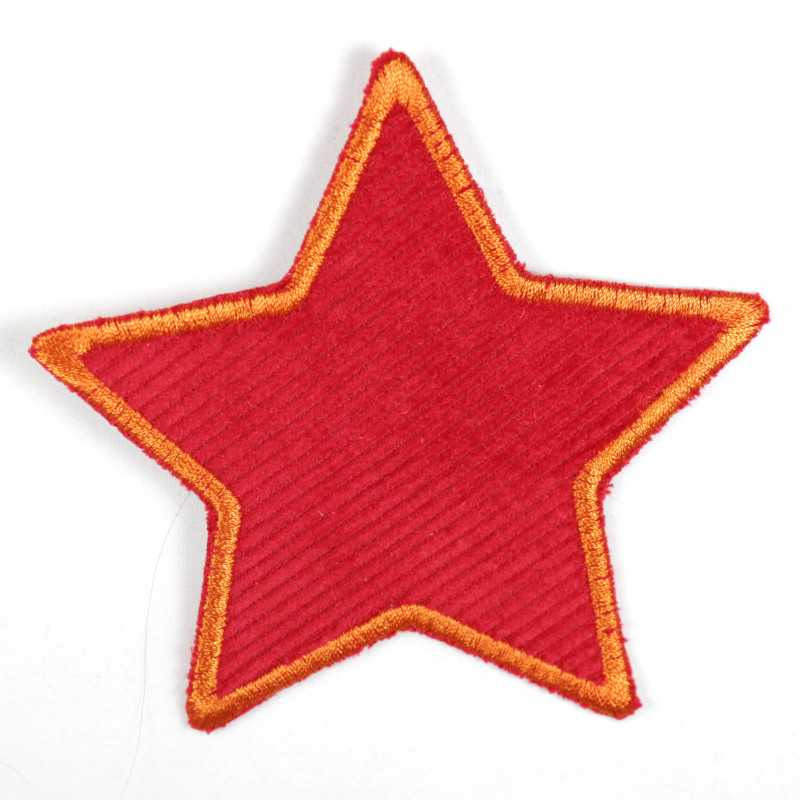 Iron-on patches star red with orange border patch can be used as a knee patch