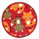 Flickli - the patch! round foxes on red