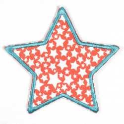 Iron-on patches star coral and white star motif border in turquoise iron-on can be used as a knee patch