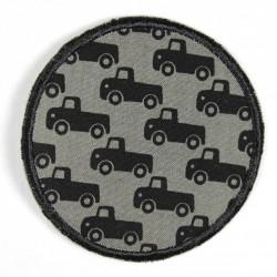 Bügelflicken Autos auf grau reißfester Aufbügler als Knieflicken zum aufbügeln geeignet