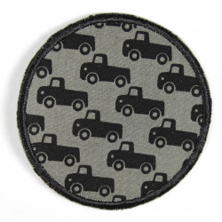 Flickli - the patch! round with cars on grey