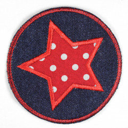 Flickli - the patch! round denim with applied star red with dots