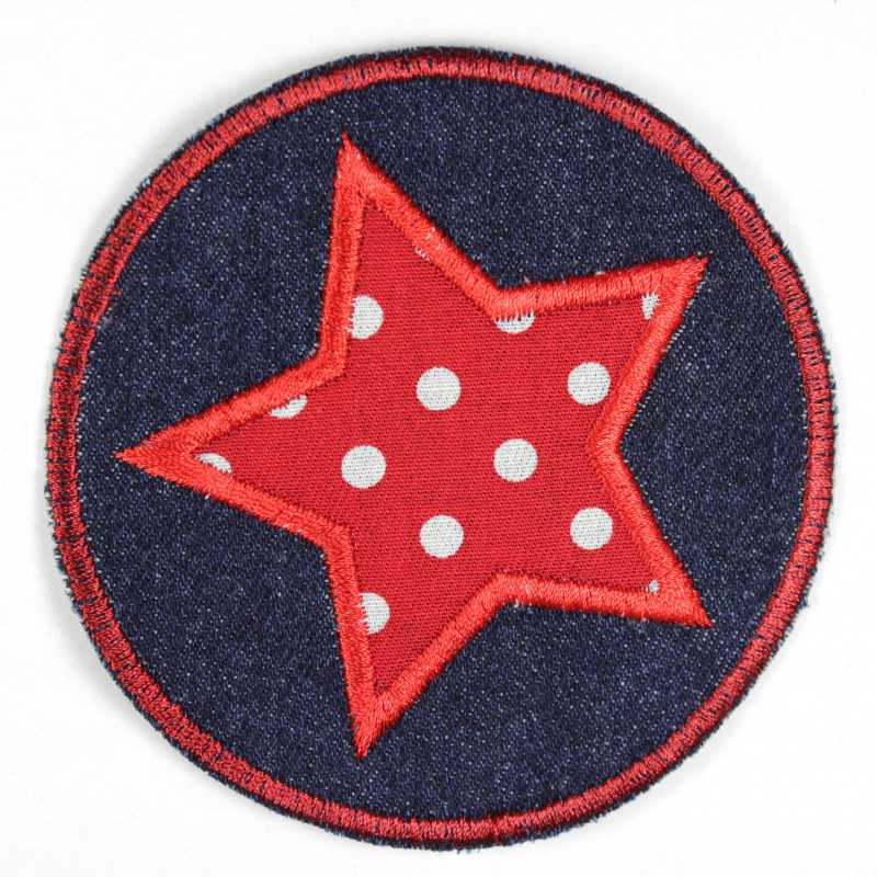 Iron-on patches round jeans with an applied star red with white dots suitable as knee patches