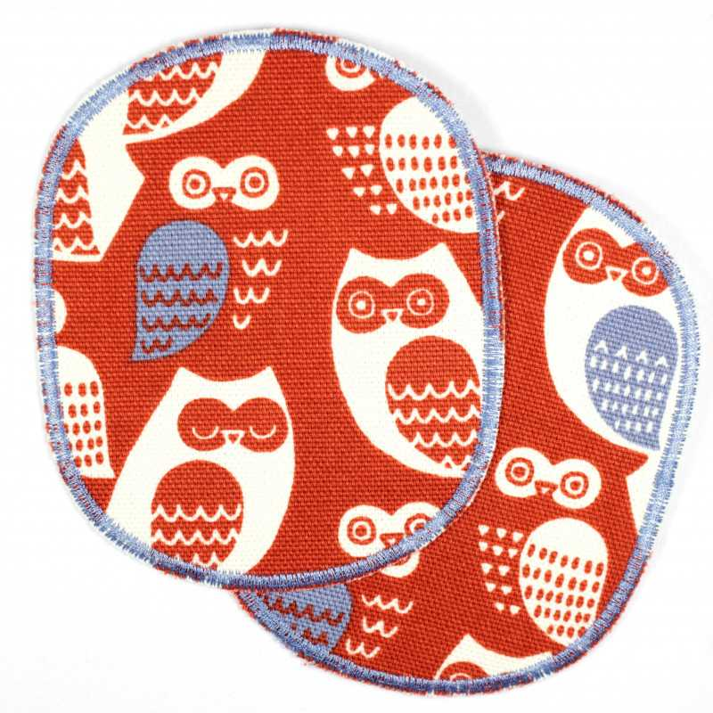 large iron-on patches owl white blue solid appliques usable as knee patches or pants patches