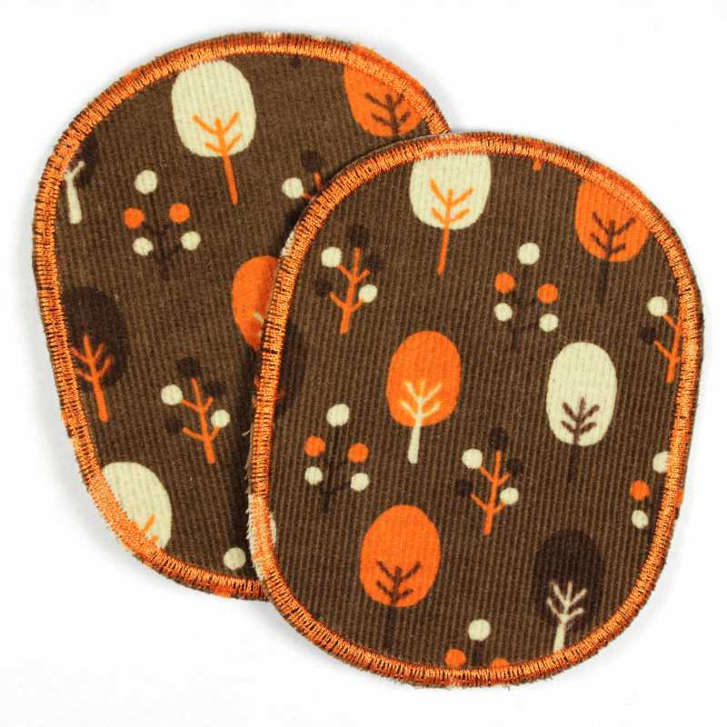 2 large patches trees iron-on patches brown background reinforced patches as knee patches or pants patches to iron on