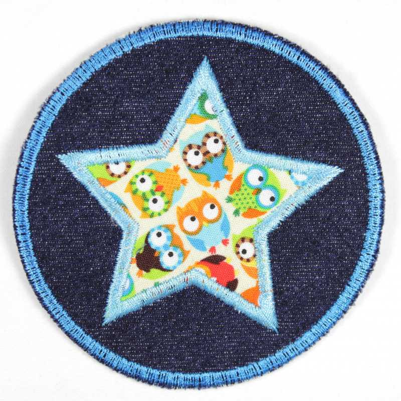 Iron-on patches around jeans with an applied star with a colorful owl motif suitable as knee patches