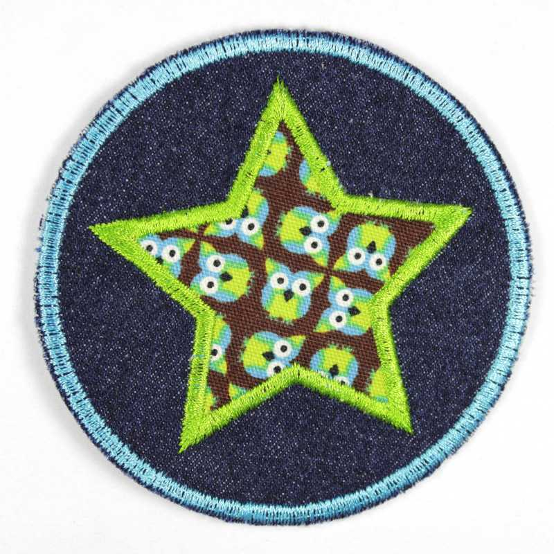 Iron-on patches around jeans with appliqued star with owl motif blue and green on brown, suitable as knee patches