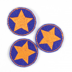 3 small patches to iron on round iron-on patches with star orange on blue