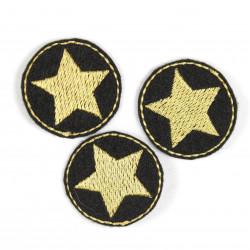 Flicken zum aufbügeln rund 3er Set Stern Aufbügler gold auf schwarz kleine Bügelflicken Patches zum aufbügeln Bügelbild Set