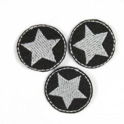 Aufbügler Bügelbild Bügelflicken rund 3er Set Klein Stern silber auf schwarz Sterne Flicken zum aufbügeln Mini Patches