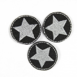 Flickli - the patch! small round iron-on patches with silver-grey star on black