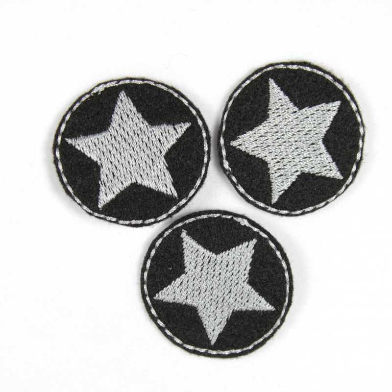 3 iron on patches black small appliques little silver star embroidery