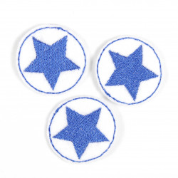 3 iron-on patches round white patches with a blue star