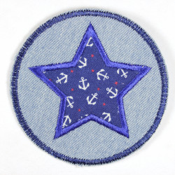 Iron-on patches round jeans with an applied star with an anchor motif white on blue, suitable as knee patches