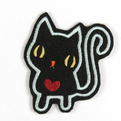 black cat iron on patch applique with red heart