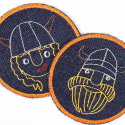2 viking iron on patches denim jeans appliques part. neon colors round with pirate motive