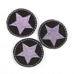 Flicken Bügelbilder Stern Bügelflicken rund 3er Set Mini Aufbügler klein lila auf schwarz Patches zum aufbügeln Applikation