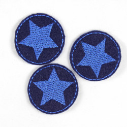 mini iron on patches rund with stars blue on darkblue