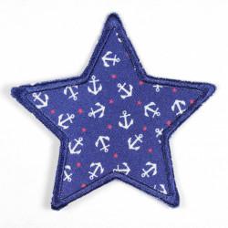 Flickli Stern weisse Anker auf blau