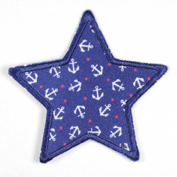 Flickli - the patch! Jeans star white anchors on blue