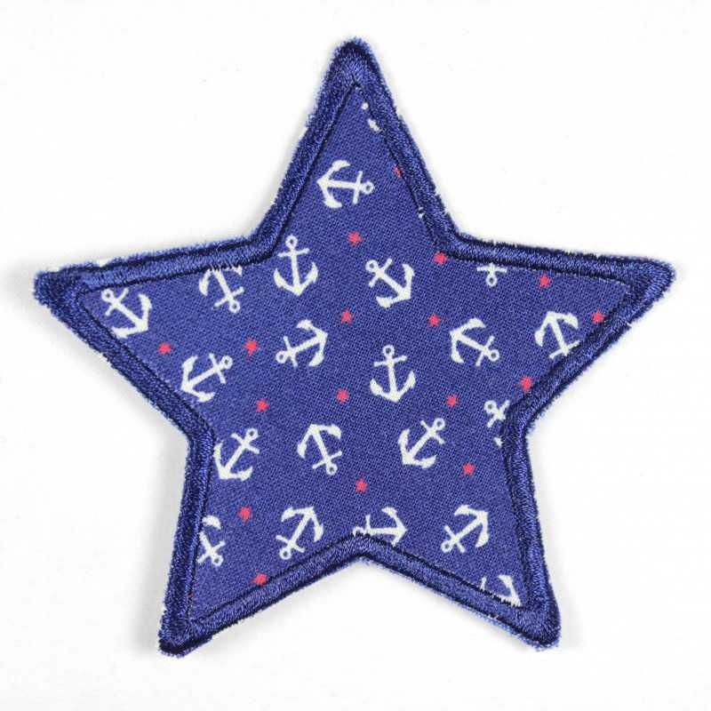 Iron-on patch blue star with white anchors and small red stars, ideal as a knee patch