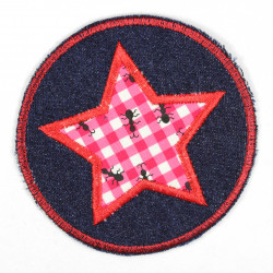 Iron-on patches around jeans with an applied star with ants motif, suitable as knee patches
