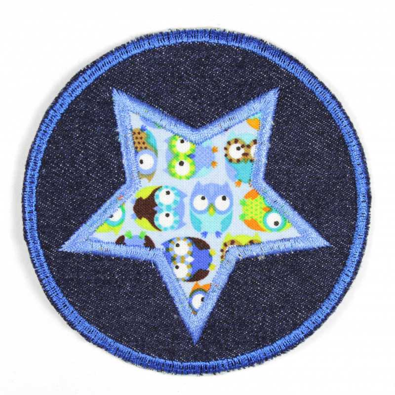 Iron-on patches round jeans with an applied light blue star with a colorful owl motif, suitable as knee patches