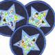 Flickli rund mit Stern und bunten Eulen türkiser Saum