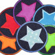 Flickli - the patch! denim round with applied cotton star with colorful owls and turquoise trim