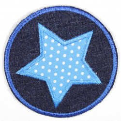 Iron-on patches round jeans with an applied light blue star with white dots, suitable as knee patches