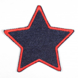 Iron-on patches denim star with red embroidered edge, suitable as a knee patch