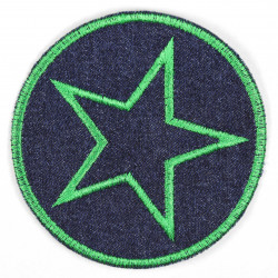 Iron-on patches round jeans with an embroidered star in green, iron-on patch ideal as a knee patch