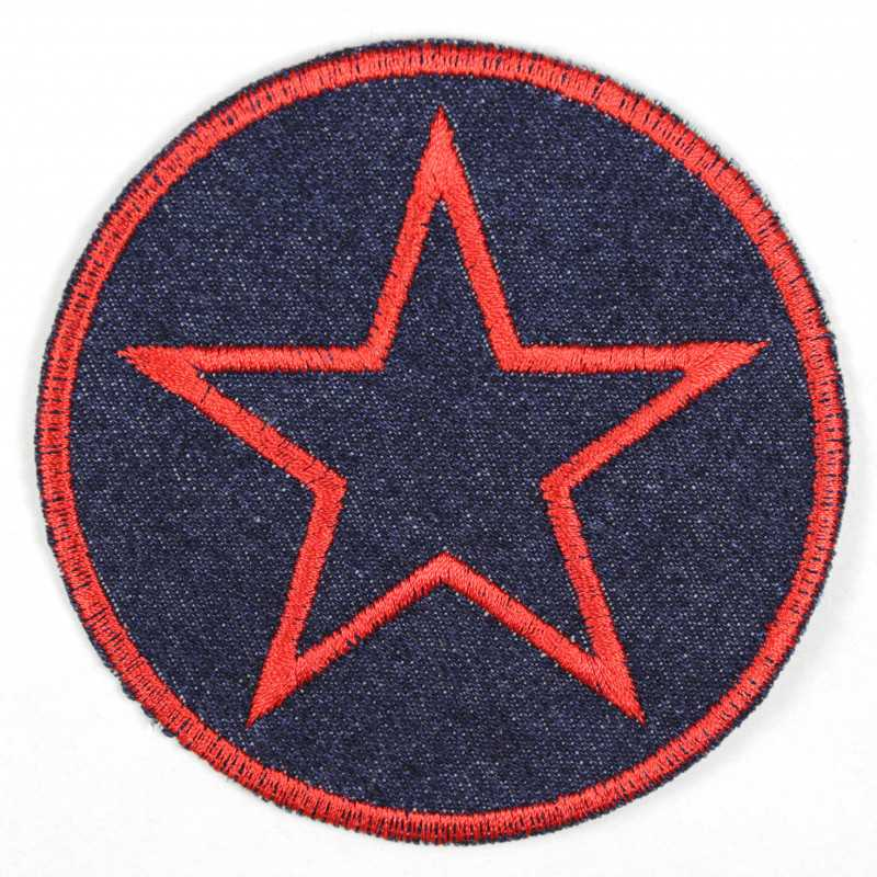 Iron-on patches round jeans with an embroidered star in red, iron-on ideal as a knee patch